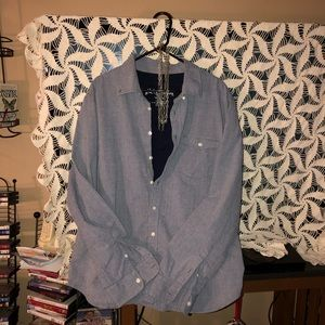 Seersucker button down shirt light blue/grey